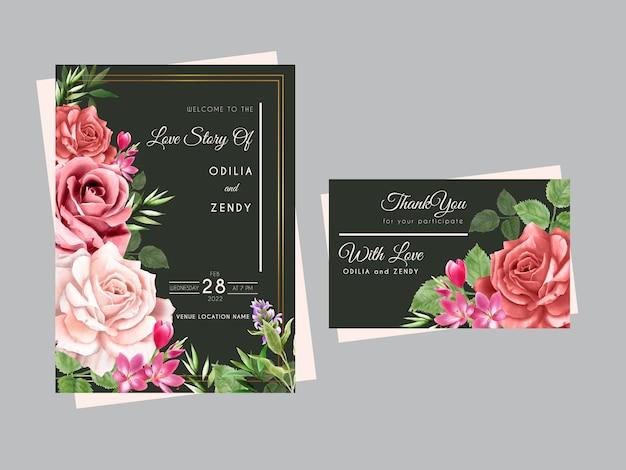 Hermosas tarjetas de invitación de boda con rosas rojas y rosadas dibujadas a mano