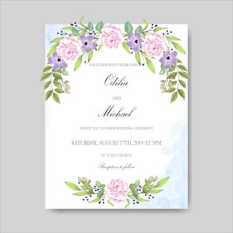 Hermosas tarjetas y plantilla de invitación de boda floral