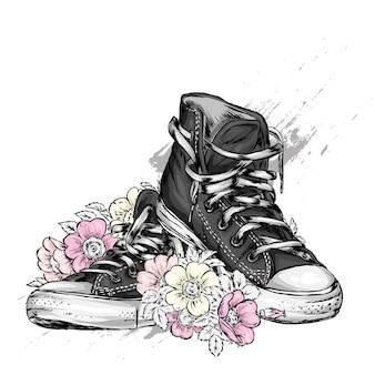 Hermosas zapatillas y flores ilustración