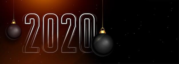 Hermoso 2020 oscuro feliz año nuevo banner con bolas de navidad