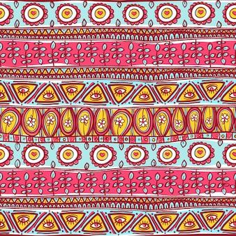 Hermoso adorno azul y rosa transparente a rayas tribales