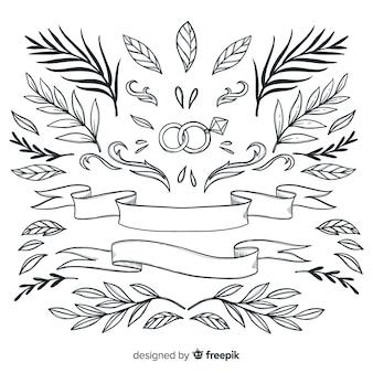 Hermoso adorno colección dibujado a mano hojas
