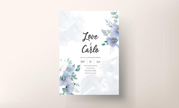 Hermoso adorno floral de tarjeta de invitación de boda