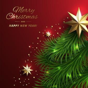 Hermoso adorno navideño y ramas de árboles de navidad con decoración dorada.