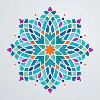 Hermoso adorno redondo colorido fondo árabe