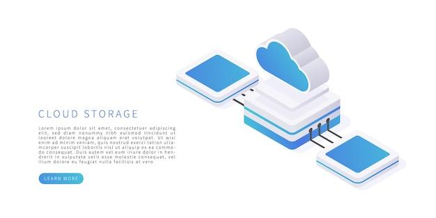 Hermoso almacenamiento en la nube en renderizado 3d