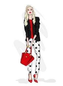 Hermoso alto en pantalones y una camisa. ropa y accesorios elegantes. Vector Premium