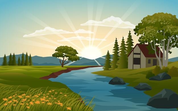 Hermoso amanecer en campo con río