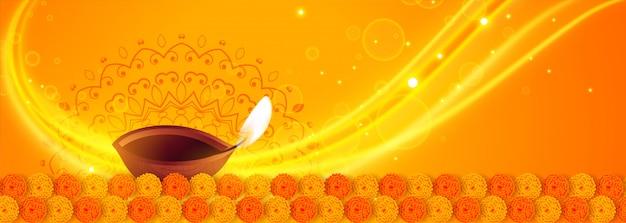 Hermoso amarillo feliz diwali diya luces banner