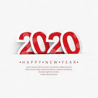 Hermoso año nuevo 2020 con celebración de copos de nieve