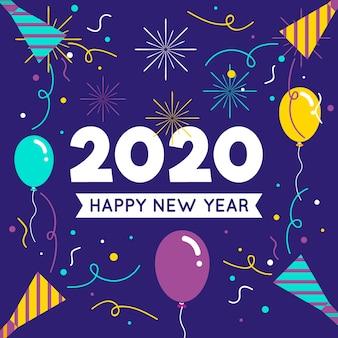 Hermoso año nuevo 2020 en diseño plano