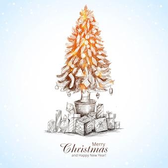 Hermoso árbol brillante de feliz navidad en tarjeta de boceto de paquete de regalo