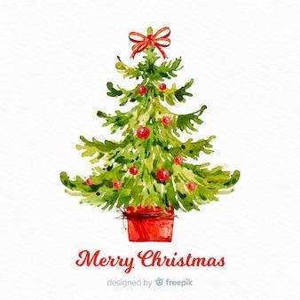 Hermoso árbol de navidad de acuarela