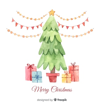 Hermoso árbol de navidad acuarela