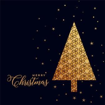 Hermoso árbol de navidad dorado decorativo