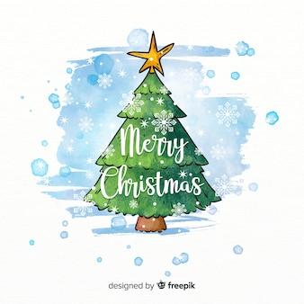 Hermoso árbol de navidad en estilo de acuarela