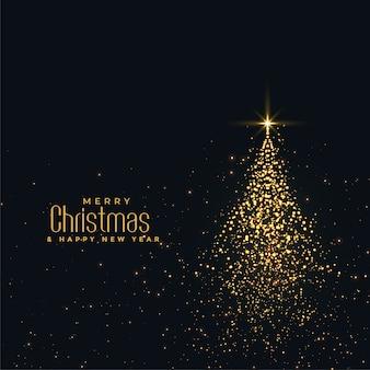 Hermoso árbol navideño brillante hecho con partículas doradas.