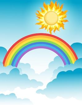 Un hermoso arco iris sobre el cielo