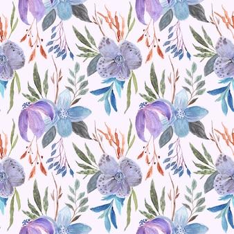 Hermoso arreglo flor morada acuarela de patrones sin fisuras