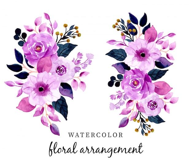 Hermoso arreglo floral acuarela púrpura
