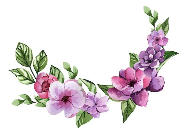 Hermoso arreglo floral acuarela de un ramo de flores lilas