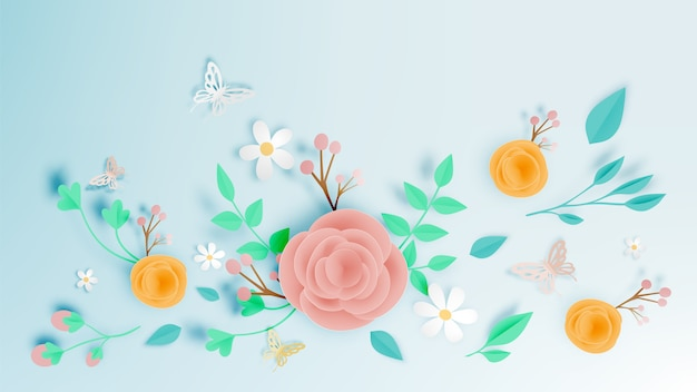 Hermoso arte floral en papel con ilustraciones de mariposas vectoriales.