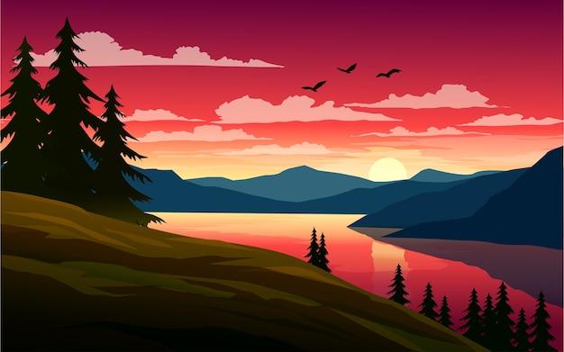 Hermoso atardecer en el lago con colinas y pinos
