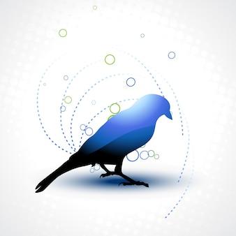 Hermoso aves azul sobre fondo artístico