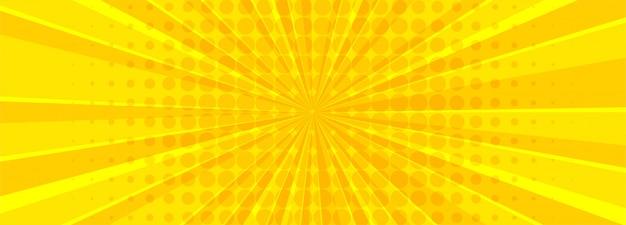 Hermoso banner cómico amarillo