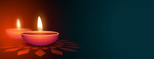 Hermoso banner decorativo feliz diwali diya