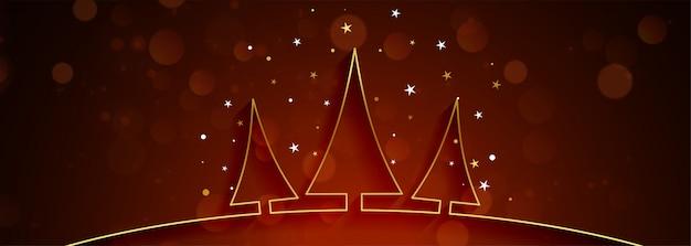Hermoso banner de navidad con árbol de oro