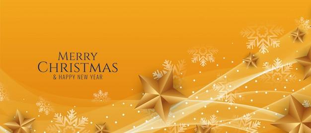 Hermoso banner ondulado de feliz navidad