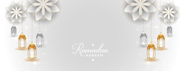 Hermoso banner de ramadan kareem en estilo árabe islámico
