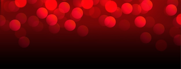 Hermoso banner rojo bokeh con espacio de texto