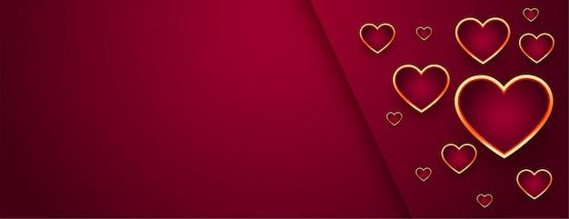 Hermoso banner rojo del día de san valentín con corazones dorados