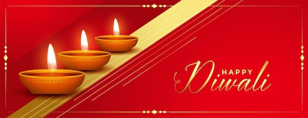 Hermoso banner rojo y dorado feliz diwali festival