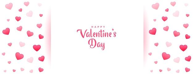 Hermoso banner romántico del día de san valentín con corazones