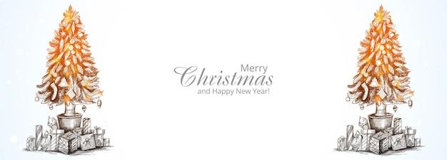 Hermoso banner de tarjeta de árbol de navidad