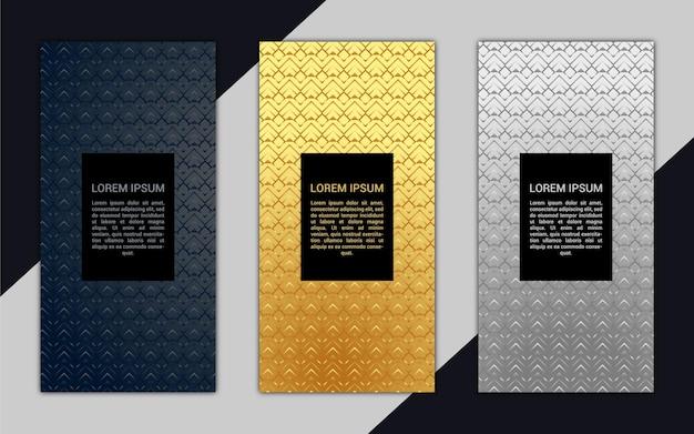 Hermoso banner vertical de lujo con patrón