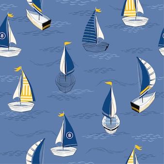 Hermoso barco dibujado a mano en el océano