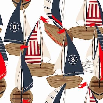 Hermoso barco dibujado a mano en el patrón sin costuras océano
