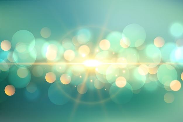 Hermoso bokeh con fondo de destellos de luz