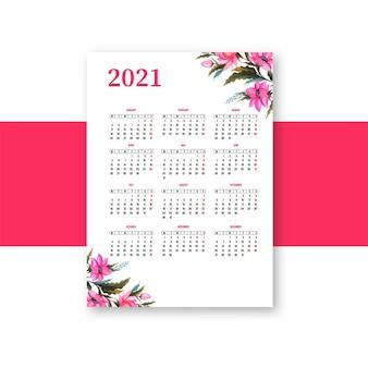 Hermoso calendario 2021 con diseño de plantilla floral