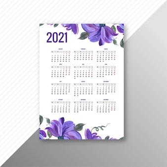 Hermoso calendario 2021 para el diseño de plantillas florales decorativas