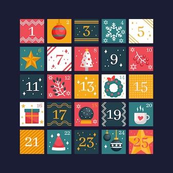 Hermoso calendario de adviento de diseño plano