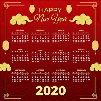 Hermoso calendario de año nuevo chino rojo y dorado