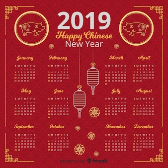 Hermoso calendario de año nuevo chino