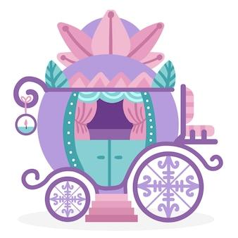 Hermoso carruaje de cenicienta de cuento de hadas