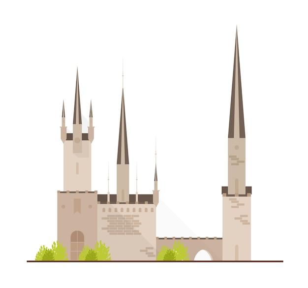 Hermoso castillo de cuento de hadas o fortaleza medieval con torres aisladas en blanco