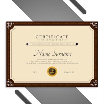 Hermoso certificado abstracto